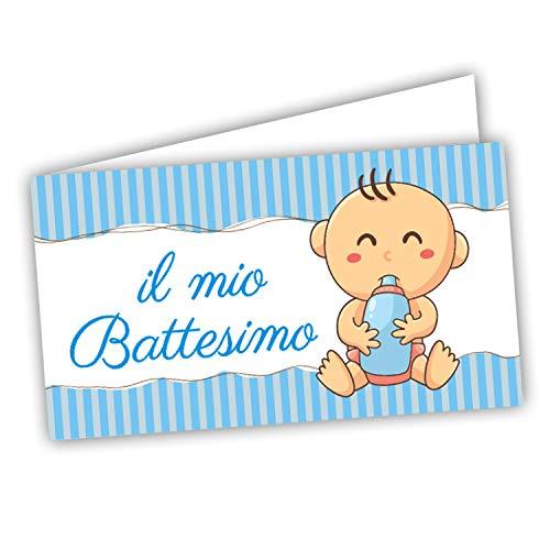 Bigliettini Sacchetti Bomboniera Confetti - Battesimo 60 pezzi pretagliati - stampa l'interno con foglio di prova per non sbagliare