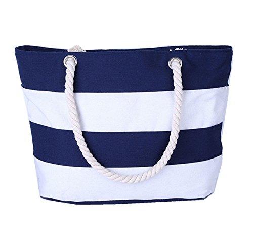DNFC Strandtasche mit Reißverschluss Damen Schultertasche Groß Canvas Tasche Gestreift Handtasche mit Innentasche Einkaufstasche Shopper Reisetasche für Urlaub, Reisen und Alltagsleben (Blau Weiß)