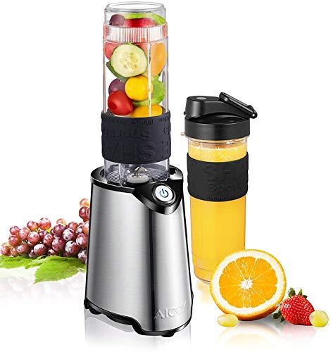 Mini Standmixer, Aicok Mixer Smoothie Maker Nutribullet 300W mit 600 ml BPA-frei Tragbar Tritan-Trinkflaschen für Shake, Smoothie, gefrorene früchte, Getänk von Obst und Gemüse, Easy to Use, 23000RPM