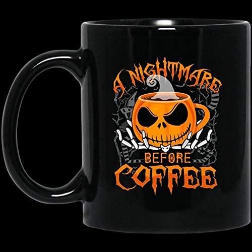 N\A Taza de Pesadilla Antes de café - Taza Divertida de Halloween y Navidad - Taza de café