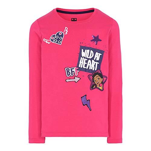 LEGO Mädchen MW-Langarmshirt mit Pailletten Friends T-Shirt, 494 Dark Pink, 152
