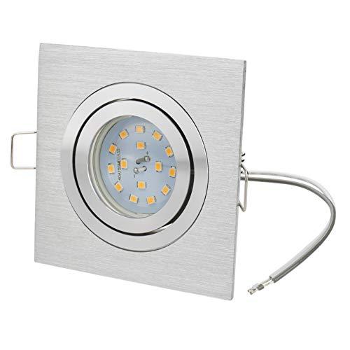 Spot LED encastrable en aluminium avec profondeur d'encastrement de 30 mm avec LED GU10 230 V 400 lm 2700 K Blanc chaud | Carré orientable | brossé | Ne rouille pas | Ampoule interchangeable
