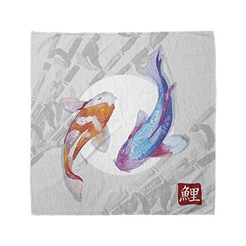 Ambesonne Unisex Bandana, Koi Fish Watercolor Japanese Carps, Blue Orange