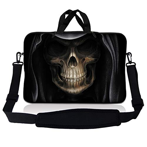 LSS 15.6 inch Laptop Sleeve Bag Carrying Case Pouch w/ Handle & Adjustable Shoulder Strap for 14' 15' 15.4' 15.6' Apple Macbook, GW, Acer, Asus, Dell, Hp, Sony, Toshiba, Hooded Dark Lord Skull