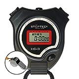Cronómetro Schütt Stoptec HC-3 con silbato de acero inoxidable - cronómetro digital | Hobby | Deporte | Tiempo libre | a prueba de salpicaduras | apto para niños
