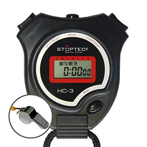 Schütt Stoppuhr Stoptec HC-3 mit Edelstahl Trillerpfeife - Digitale Stoppuhr | Hobby | Sport | Freizeit | spritzwasserfest | für Kinder geeignet