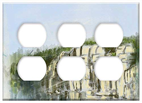 Triple Duplex Outlet Wall Plate Cover - Landscape Painting Abstract Valley Rocks Grass