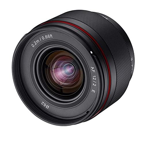 SAMYANG AF 12mm F2.0 E Objektiv für Sony E – Autofokus APS-C Weitwinkel Festbrennweite Objektiv für Sony E Mount APSC, für Kameras Sony Alpha 6600 6500 6400 6300 6100 6000 5100 5000 NEX schwarz, 23072