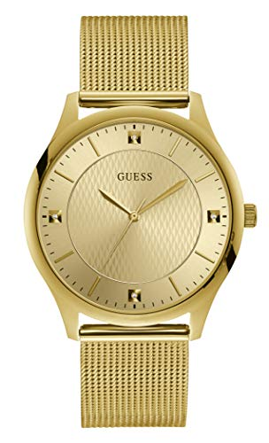 GUESS Men's Analog Quartz Watch with Stainless Steel Strap, Gold, 18 (Model: GW0069G2)