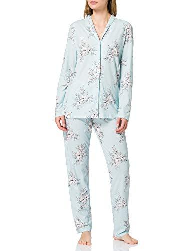 Schiesser Damen Pyjama lang Pyjamaset, Mint, 40