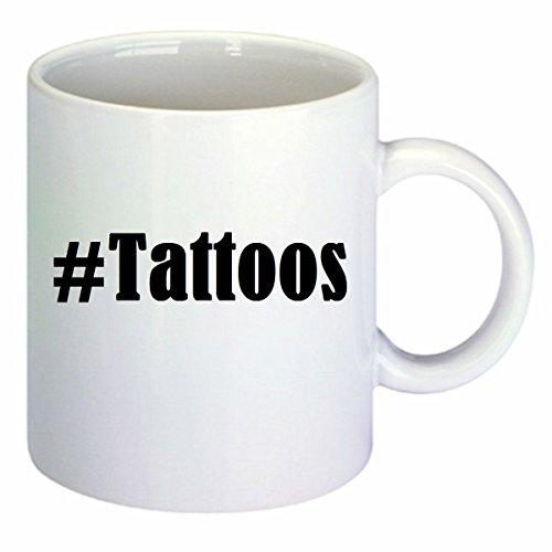 Koffiemok #Tattoos Hashtag ruit keramiek hoogte 9,5 cm ? 8 cm in wit