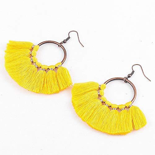 Arete Pendiente de Borla de aro Fringe Circle Round Drop Straw Straw Boho Pendientes Hot Acrylic Earrings Jewelry ED610