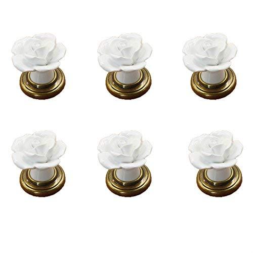 6 PCS Blanco Vintage Floral Forma de rosa Tiradores de cerámica Armario de cocina Armario Cajón Muebles Cómoda dormitorios Armario Perillas de puerta con base de latón