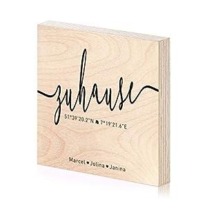 Zuhause Koordinaten Holzbild mit Laser-Gravur als Einweihungsgeschenk 15×15 zum hinstellen aufhängen als Geschenk zum…