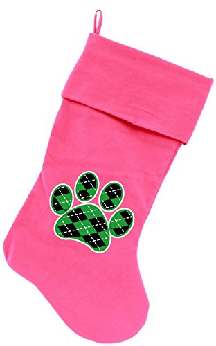 "Mirage Pet Products Argyle Paw Green Screen Print Velvet Christmas Stocking Pink, 18"""
