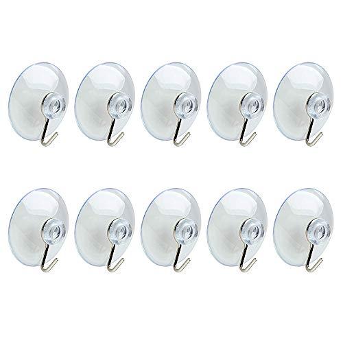 Quikhome 10 Stück 45mm stark PVC weicher Saugnapf Vakuum Saughalter Transparent Wandhaken mit Metallhaken für Fenster Küche Badezimmer Spiegel Glas Metall