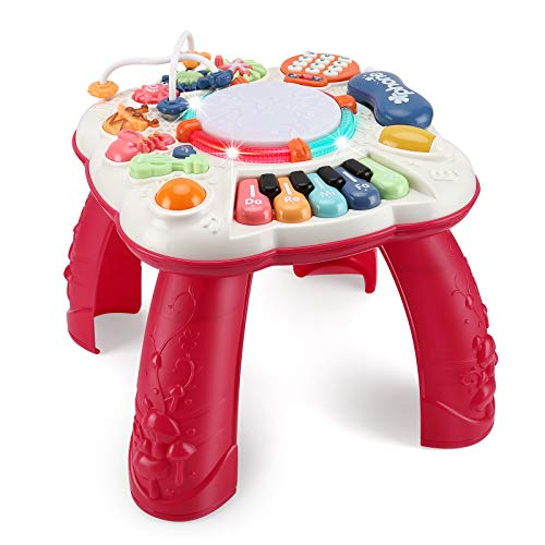 baccow Baby Toys 6 to 12-18 Months, Musical Activity Table for 1 Year Old Boys Girls Gifts Toddler Infant Toys (Size 11.8×11.8×12.2 Inches)