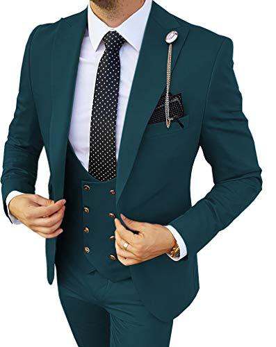 MoranX Costume 3 pièces pour homme Coupe normale Double boutonnage Pour smoking professionnel - Bleu - XXXL