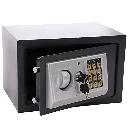 Panorama24 Tresor Safe mit Elektronik-Zahlenschloss 31x20x20cm LED-Anzeige Stahlbolzen, grau, inkl. 4 Batterien, Möbeltresor Wandtresor Wandsafe Home