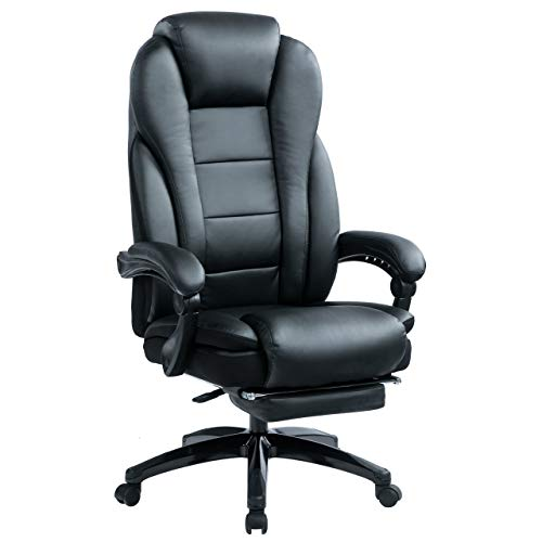 KCREAM Big and Tall Leather Executive Chair Ergonomic Design Reclining Office Chair with Built-in Footrest Home Office High Back Adjustable Computer Desk Chair(Black)