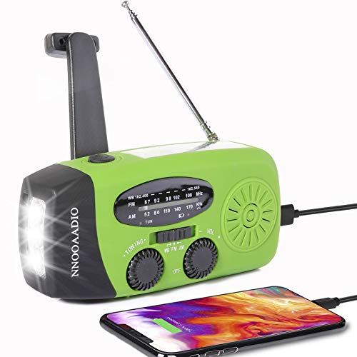 Windup Emergency Weather Radio Hand Crank Solar Battery Operated Survival NOAA AM FM Radio Portable with 3 LED Flashlight Kit Builtin 1200mAh USB Power Bank for Cellphone