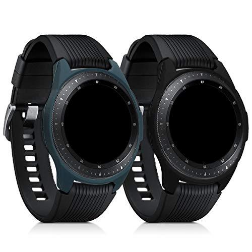 Preisvergleich Produktbild kwmobile 2X Sport Schutzhülle kompatibel mit Samsung Galaxy Watch (42mm) - Silikon Hülle Cover ohne Tracker Schwarz Dunkelgrau