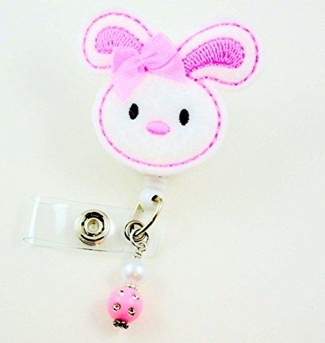Easter Bunny Pink Ears - Nurse Badge Reel - Retractable ID Badge Holder - Nurse Badge - Badge Clip - Badge Reels - Pediatric - RN - Name Badge Holder