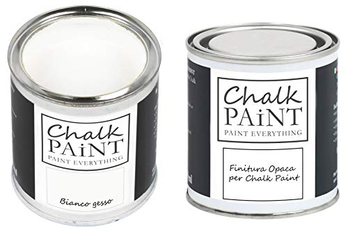 CHALK PAINT & FINITURA - Bianco Gesso + Finitura Trasparente - Kit Pronto Vernicia e Proteggi (250ml+250ml)