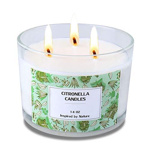 Große Citronella-Kerzen, tragbare Glas-Duftkerzen 3-Docht natürliches Sojawachs Reise-Camping-Glaskerze mit 75-80 Stunden Brenndauer für den Außen- und Innenbereich