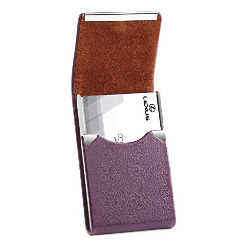 MaxGear PU Leather Business Card Holder for Women Professional Business Name Card Holder Stainless Steel Business Card Case with Magnetic Shut,Purple