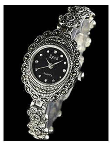 CHXISHOP Reloj de la Pulsera de Las Mujeres 925 Reloj de Movimiento de Cuarzo de Plata esterlina 925 Reloj Oval Vintage Pulsera Reloj de Cristal de Zafiro black-17cm