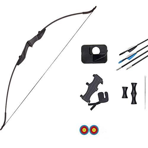 AGGF Juego de Arco y Flecha recurvo Desmontable para Principiantes de 52 Pulgadas, Arco Largo de Caza Desmontable para Exteriores con Protector de Brazo y Soporte de Flecha para Adultos, Kit de t