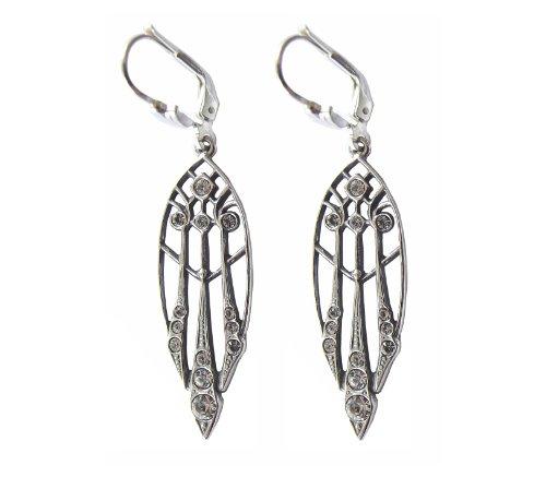 Art Deco Damen Ohrhänger Ohrringe 925 Silber Swarovskikristalle