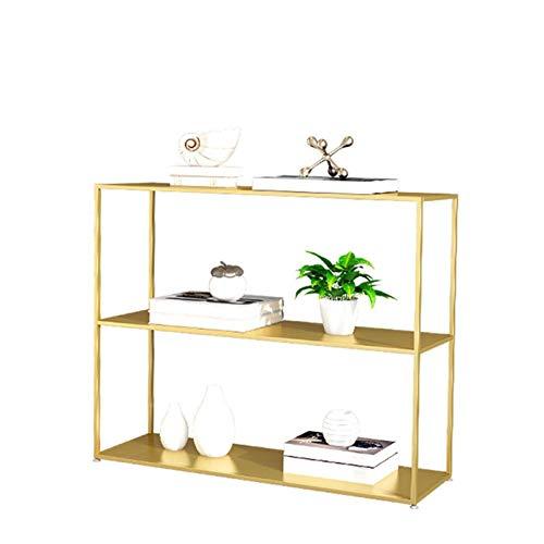 Mesa De Consola De Metal De Oro, Organizador De La Tienda, 3 Capas Sencillas De 3 Capas De Soporte De Flores De Hierro Forjado Mesa Lateral Para La Entrada De La Sala De Est(Size:80*25*80CM,Co