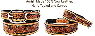 PRORIDER XSmall 9''- 13'' Hand Tooled Dog Puppy Collar Cow Leather Amish Made USA 6022