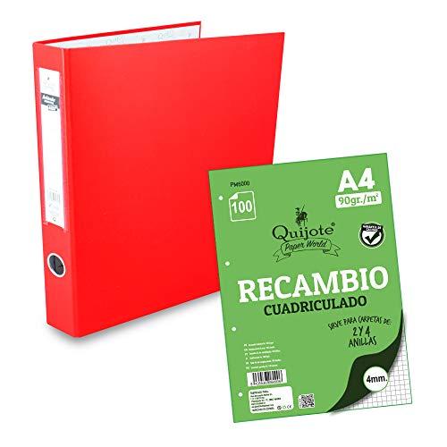 CARPETA ARCHIVADOR 4 ANILLAS QUIJOTE PAPER WORLD - Organizadores, para A4, colores básicos, para uso escolar o de oficina - Rojo + 100 Recambios