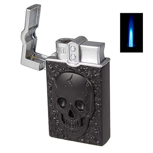 Sturmfeuerzeug Skull Turbo Feuerzeug Totenkopf Blue Jet Flame Torch Gas Lighter mit Schutzkappe (SCHWARZ)