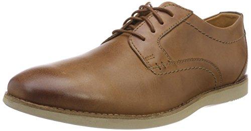 Clarks Herren Raharto Plain Derbys, Braun (Dark Tan Leather), 41.5 EU