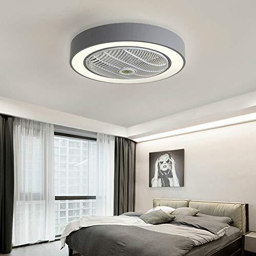 Ventilador de techo LED, luz ventilador, lámpara de techo, 3 colores de luz, velocidad ajustable, lámpara de techo, acrílico con mando a distancia, para salón o dormitorio, 22 pulgadas (gris)