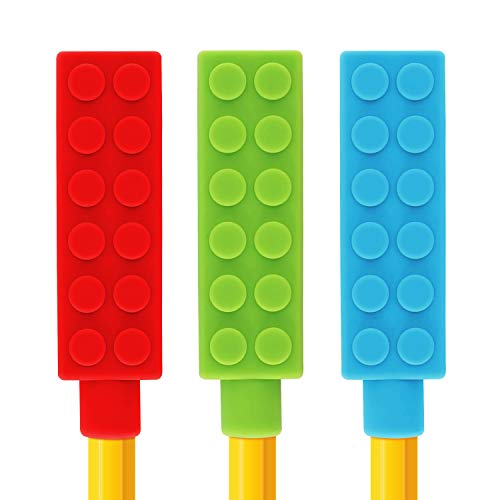 Panny & Mody Chewable Pencil Toppers(3 Pack), Silicone Sensory Aid Fidget Chew Stick for Autism & Oral Motor Biting Teething Special Needs Kids Girls & Boys | Chewing Topper (Blue, Red, Green)