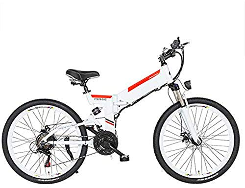 Electric Bike Electric Bike Folding Electric Mountain Bike with 24' Super Lightweight Aluminum Alloy Electric Bicycle, Premium Full Suspension And 21 Speed Gears, 350 Motor, Lithium Battery 48V