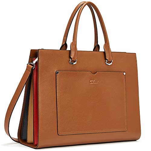CLUCI Leather Women Briefcase Slim 15.6 Inch Laptop Business Shoulder Bag Brown