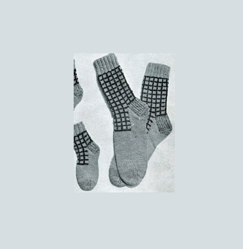 Ladies' Checked Anklets. Vintage Knitting Pattern [Annotated]