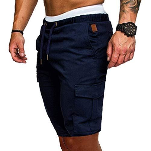 Pantalones Cortos de Cinco Puntos para Hombre Color sólido Estilo Informal Bolsillos Cordón Pantalones cortos de playa Verano Pantalones para Hombre