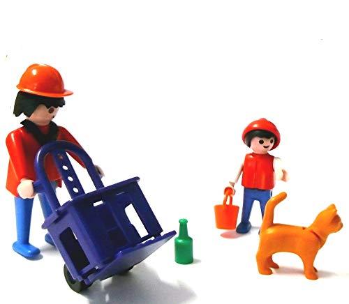 playmobil ® Arbeiter mit Sackkarre Kiste Kind und Hund