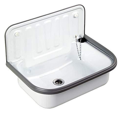 Spülbecken aus Stahl emailliert Ausgussbecken für Garten Keller Waschküche