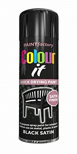 Topline-Black Satin Paint Aerosol Spray Can Quick Drying DIY Plastic Metal...