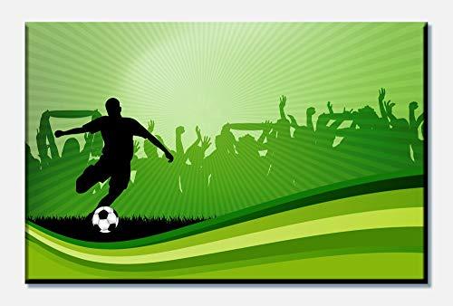 wandmotiv24 Leinwandbild Fussball 80x50cm (BxH) Panoramabild Foto-Leinwand Wandbild Foto-Geschenke M0439