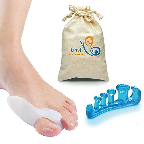 Liny | Separador Dedos Pie y Corrector de Juanetes en Gel trasparente y suave 2 Pares para Hallux Valgus Hammer Tratamiento de los Dedos,para ejercicios de yoga