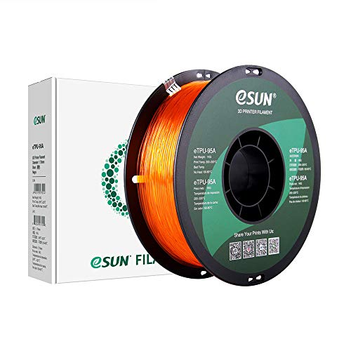 eSUN Filamento TPU Flexible 1.75mm, TPU-95A Filamento para Impresora 3D, Precisión Dimensional +/- 0.05mm, 1KG (2.2 LBS) Carrete Filamento de Impresión 3D, Naranja Transparente